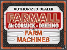 FARMALL McCORMICK DEERING TRACTOR DEALER NEON STYLE BANNER SIGN RETRO ART 4 X 3