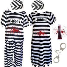 CHILDRENS KIDS BOYS GIRLS CONVICT PRISONER STRIPED FANCY DRESS COSTUME HALLOWEEN