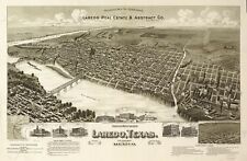 A4 Reprint of American Cities Towns States Map Laredo Texas