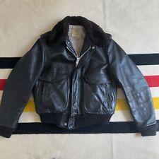 Vintage Schott NYC Mens Flight Jacket Leather Bomber Pilot Brown IS674MS Sz 40