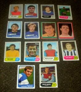 14 X 1964 - 1969 A & BC BUBBLE GUM FOOTBALLERS CARDS HIGH GRADE GREEN YELLOW