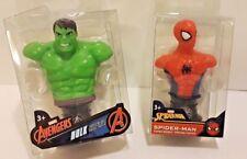 "Lot Of 2 MARVEL AVENGERS - Spider-Man & Hulk 3"" MINI BUST Paperweights"