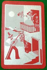 Playing Cards 1 Single Swap Card - Old Vintage GUITAR Man SERENADE Balcony GIRL