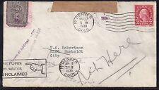 1930 Intracity Denver, Colorado - Scott OX17 Post Office Seal - Return to Sender