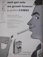 PUBLICITÉ 1956 CAMEL MOI QUI SUIS GRAND FUMEUR LA PLUS FUMÉE DANS LE MONDE