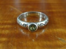 Silver 925 Ring Size 5 3/4 Swirl Band with Green Stone Sterling