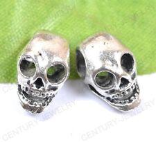NP1150 lots 20pcs Tibetan Silver Horrific Skull Charms Spacer Beads 14MM