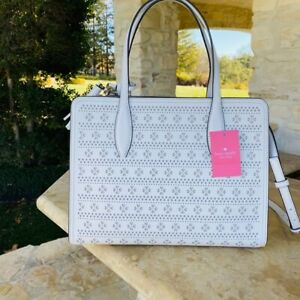 Kate Spade Rowe Perforated Md Top Zip Satchel/Wallet Options Whitedove  NWT