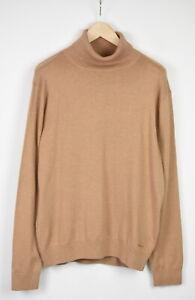 GANT Men X LARGE Cotton Wool Blend Turtle Neck Mélange Brown Sweater 19012_