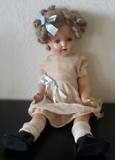 """Vintage Composition Doll Possible SHIRLEY TEMPLE Jointed 20"""" eyes open UNMARKED"""