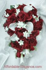 BURGUNDY & WHITE Cascade Bridal Bouquet Roses Calla Lilies Silk Wedding Flowers