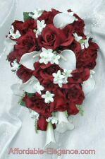 BURGUNDY & WHITE Cascade Bridal Bouquet Roses Calla Lilies Silk Wedding Flowers
