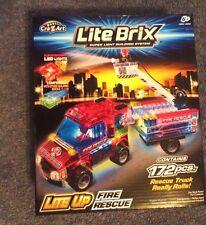 LITE BRIX LITE UP FIRE RESCUE SET 172PCS TRUCK REALLY ROLLS! SUPER LIGHT LEDS UK