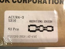 """NEW HYLOK CUR-4-3-S316, STAINLESS STEEL REDUCING UNIONS, 1/4"""" O.D. X 3/16"""" O.D."""