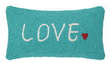 LOVE HEART SAYING HOOKED WOOL PILLOW : GREEN TOSS ACCENT CUSHION