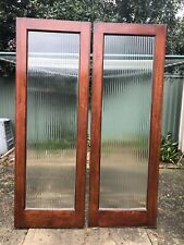 Pair of Art Deco French Doors 1385mm  x 2000mm Ribbed Glass In Perfect Cond