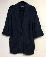 Eddie Bauer Women's Size M Dark Gray 3/4 Sleeve Three Button Cardigan Sweater
