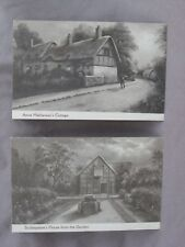 Pair Of Vintage Sepia Harvey Barton Postcards. SHAKESPEARE & ANNE HATHAWAY HOMES