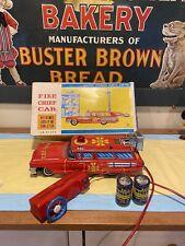 Vintage Yonezawa Fire Chief Station Wagon Car Tin Battery Op Toy W Box Japan