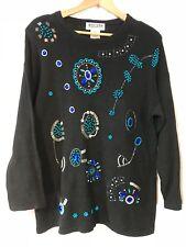 Sweater 1980s Ladies knit sz L Large vintage Black Beaded Retro Glam Tunic  vt