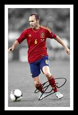 ANDRES INIESTA - SPAIN AUTOGRAPHED SIGNED & FRAMED PP POSTER PHOTO