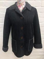 Boden Jacket Size 8 Black Faux Suede Borg Fur Lined Coat Warm Winter Pockets