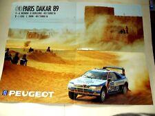 Affiche PARIS DAKAR PEUGEOT 405 Turbo 16   1989 course auto sport car poster