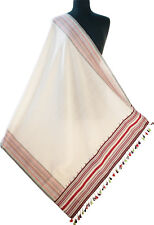 """Hand Woven Cotton Shawl Cream Ivory White With Red  82"""" x 33"""" Colorful Scarf"""