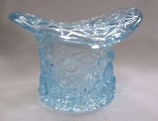 L E SMITH GLASS  DAISY AND BOTTOM TOP HAT TOOTHPICK OLDER OR VOTIVE  LIGHT BLUE
