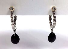 Retired Pandora Elegant Embrace Sterling Silver/14K Gold/Onyx/Diamond Earrings