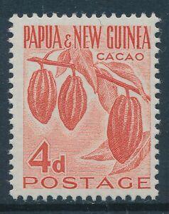 1958 PAPUA NEW GUINEA 4d VERMILLION (CACAO) FINE MINT MNH SG18