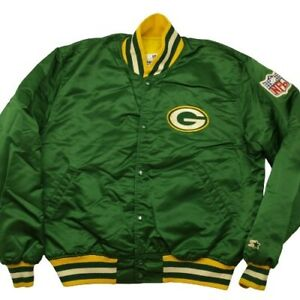 Vintage Starter Men's XL Green Bay Packers 90's Satin Bomber Jacket USA Rare