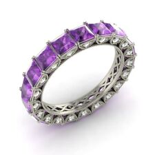 Certified 3.49 Ct Princess Amethyst & Diamond Eternity Band Ring 18k White Gold