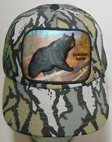 Vtg GRIZZLY BEAR CARCROSS YUKON CANADA ALASKA Camo Patch SNAPBACK TRUCKER HAT