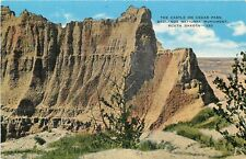 Linen Postcard SD C810 The Castle on Cedar Pass Badlands National Monument