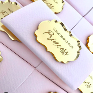 20pcs Custom Made Gold Acrylic Mirror Tags, Lettering Name Logo,Chocolate Favors
