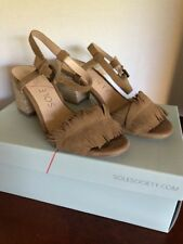 Sole Society Sepia Tan (Coffee) Fringe Ankle Strap Sandal NIB Size 6
