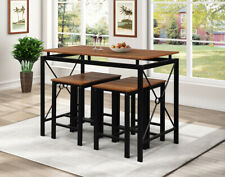 5-Piece Dining Table Set Red Natural Wood+Steel Dining Table & 4Chairs Furniture