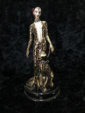 Franklin Mint House Of Erte 'Leopard' Lady & Cat Figurine Statue Sculpture