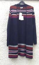 M&S Per Una Navy Blue/Multi Striped Long Wool Buttonless Cardigan Size 18 BNWT
