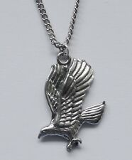 Chain Necklace #221 Pewter EAGLE in FLIGHT (29mm x 20mm) Silver Tone Bird