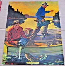 GRAIN BELT BEER ADVERTISING FISHING PRINT ~ L@@K ! ~ VERY DETAILED ~