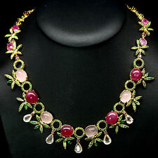 FANTASTIC! NATURAL! PINK RUBY QUARTZ  TSAVORITE GARNET..925 SILVER NECKLACE 19""
