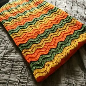 "Zig Zag Chevron Afghan Throw Blanket 74"" × 43"" Multi-colored MCM Retro Boho"