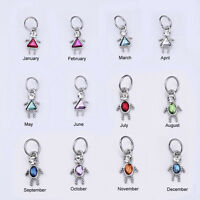 Birthstone Boy / Girl Shaped Charm, FINE Silver Plated, TWO SIZES! 3.99 & 4.99