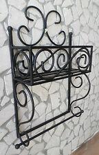 Mensola in ferro battuto porta spezie rotolo carta cucina rustica rustico