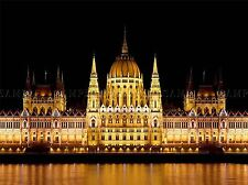 PARLIAMENT BUDAPEST HUNGARY ARCHITECTURE YELLOW REFLECTION PRINT POSTER BMP891A