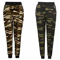 Women Joggers Ladies Slim Textured Bottoms Camouflage Print Zip Detail Size S-XL