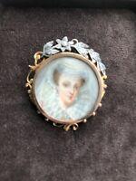 18k Gold/rose Cut Diamonds Victorian Hand Painted Brooch Pin