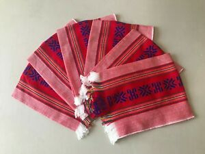"""6 PIECE SET MEXICAN XLARGE NAPKINS , TABLE PLACE MAT , 25"""" X 18""""  , PARTY , RED"""